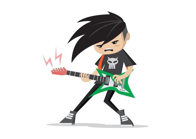 Boy playing electric guitars.