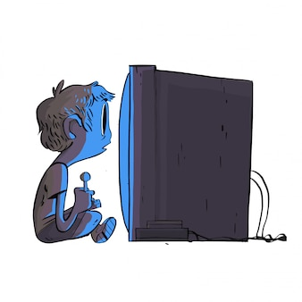 Boy playing the game console