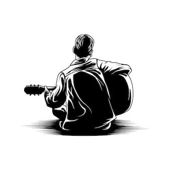 Boy playing guitar view back illustration