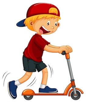 Мальчик играет на скутере
