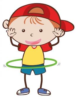 A boy playing hoola hoop