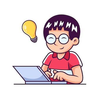 アイデアを持ってラップトップを遊んでいる少年。アイコンの図。分離された科学技術アイコン コンセプト