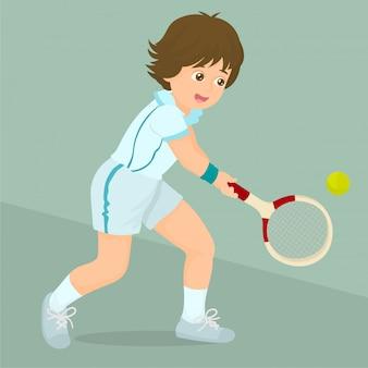 Boy playing lawn tennis
