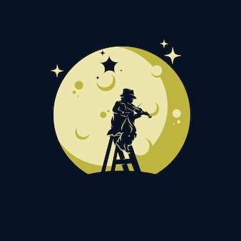 A boy playing music with the moon