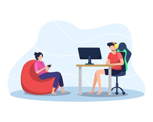 Мальчик играет в онлайн-игру на пк, девочка играет в мобильную игру. профессиональный геймер, онлайн-потоковая иллюстрация. плоский стиль