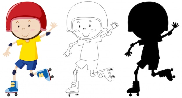 Boy playing roller skate in colour and outline and silhouette