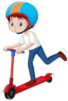 Мальчик играет скутер на белом