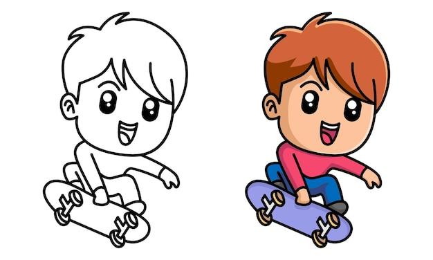 子供のためのスケートボードの着色のページを遊んでいる少年
