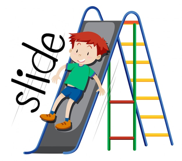 Boy playing on slide