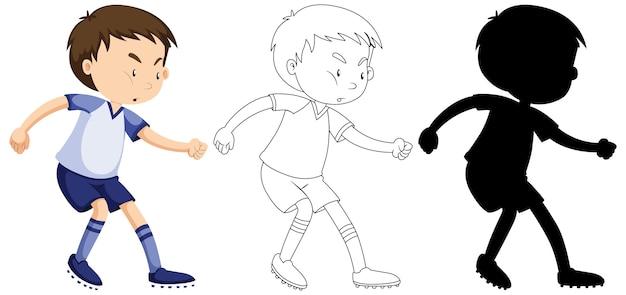 Мальчик играет в футбол в цвете, контуре и силуэте