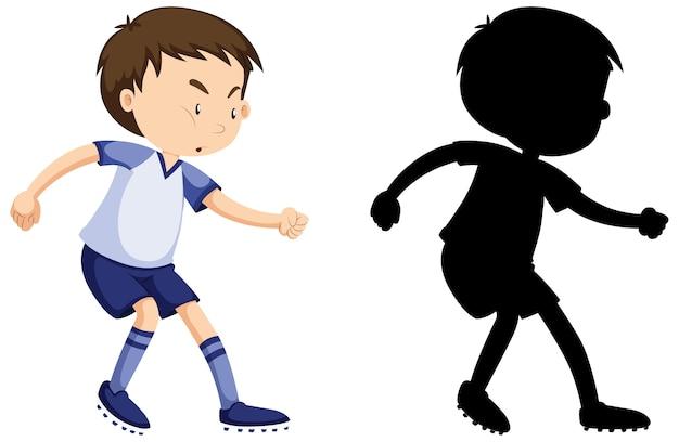 Мальчик играет в футбол в цвете и силуэт