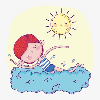 Boy playing and swimming  with sun