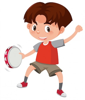 A boy playing  tambourine