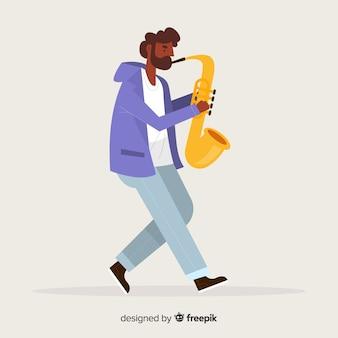 Мальчик играет на фоне саксофона