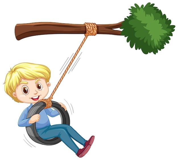 흰색 바탕에 나뭇가지 아래에서 타이어 스윙을 하는 소년