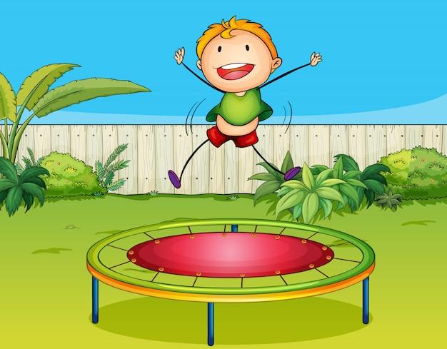 A boy playing trampoline