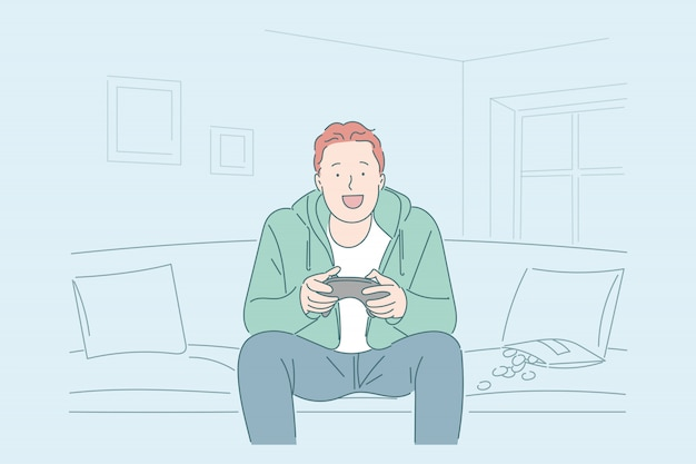 Boy playing videogames illustration
