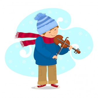 Boy playing violin in cold weather