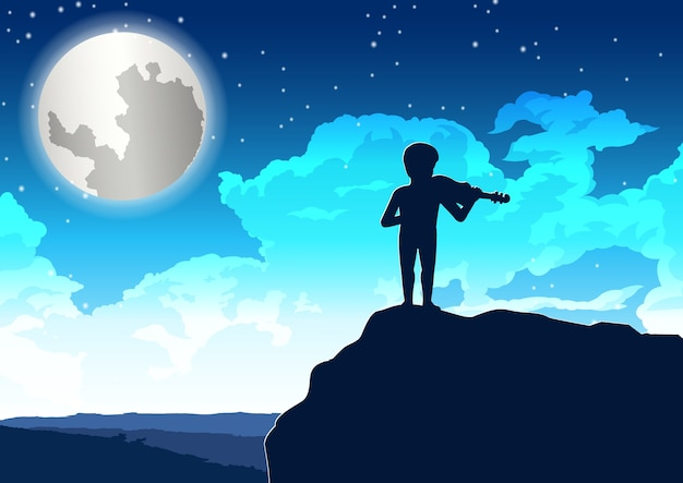 Мальчик играет на скрипке на скале в одинокую ночь