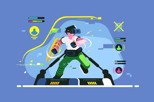 Boy playing in vr games illustration.