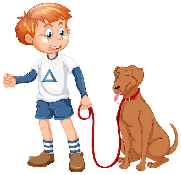 Мальчик играет с собакой на белом фоне
