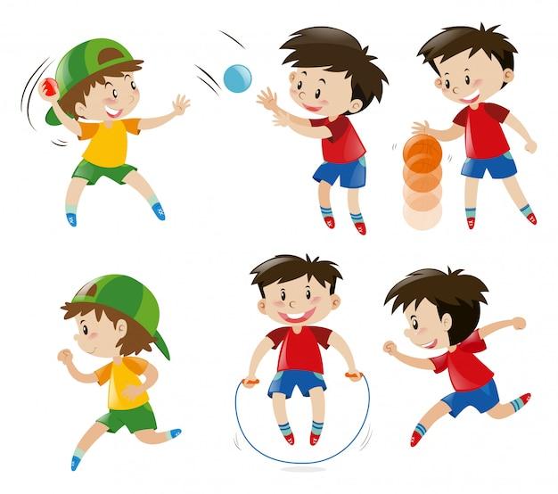 ボーイ、ジャンプ、ロープ、遊び、ボーイ