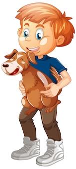 Ragazzo che gioca con un cane isolato su sfondo bianco