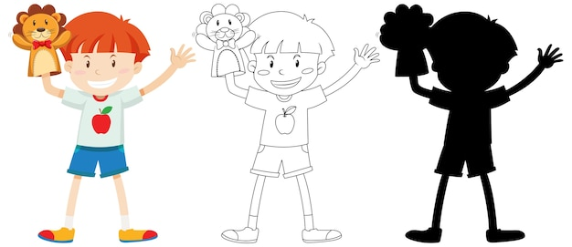 Boy playing with doll hand in colour and outline and silhouette