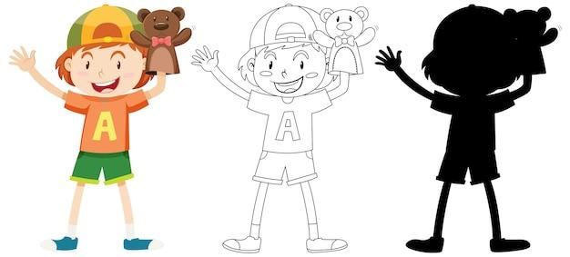 Мальчик играет с куклой рукой в цвет, контур и силуэт