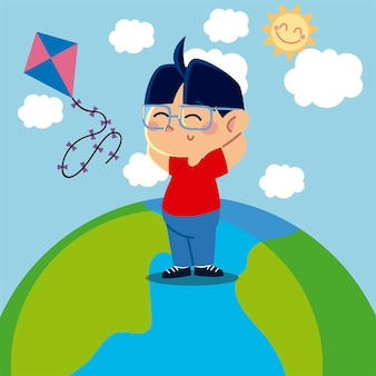 Boy playing with kite on planet cartoon, children  illustration