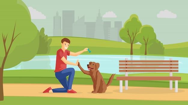 フラット図の外の子犬と遊ぶ少年。男と4本足の友人が一緒に屋外を歩きます。友情、肯定的な感情、公園の漫画のキャラクターの若い男トレーニングペット