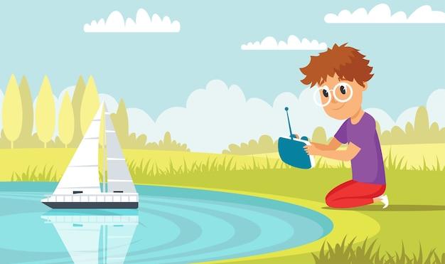 Мальчик играет с плоской иллюстрацией радиоуправляемого корабля, маленький ребенок с высокотехнологичной игрушкой в парке, мультипликационный персонаж, дошкольник веселится с лодкой с дистанционным управлением, судно у пруда, современный детский досуг
