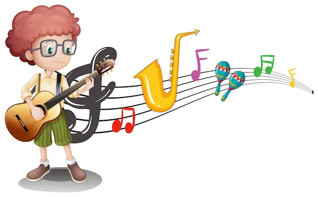 Boy plays guitar and music notes in background