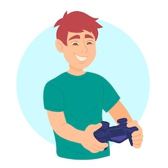 少年はコンソールビデオゲームで遊ぶ