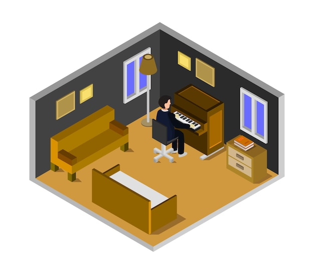 Boy plays piano, isometric room
