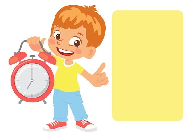 Мальчик указывает на расписание. мальчик держит будильник