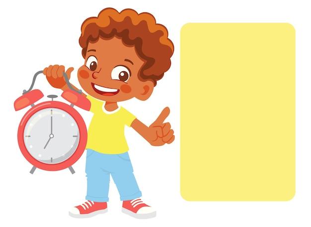 少年はスケジュールを指しています。目覚まし時計を持っている少年