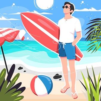 Boy posing with surfboard on beach illustration