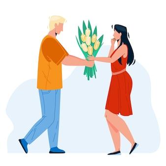 愛のベクトルを持つ少女に花を提示する少年。魅力的な女性に花の花束の贈り物を与える若い男。キャラクターのボーイフレンドとガールフレンドのカップルの日付フラット漫画イラスト Premiumベクター