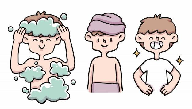 Мальчик правильной гигиены набор милый мультфильм иллюстрации