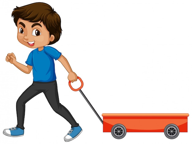 Boy pulling cart on white