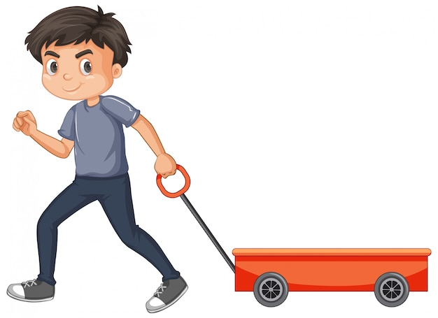 Boy pulling red wagon isolated