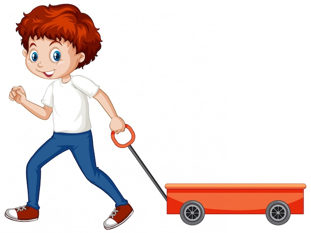 Boy pulling wagon cart on white
