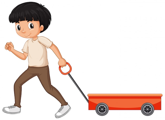 Boy pulling wagon isolated
