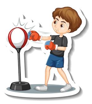 Un ragazzo che prende a pugni l'adesivo del personaggio dei cartoni animati