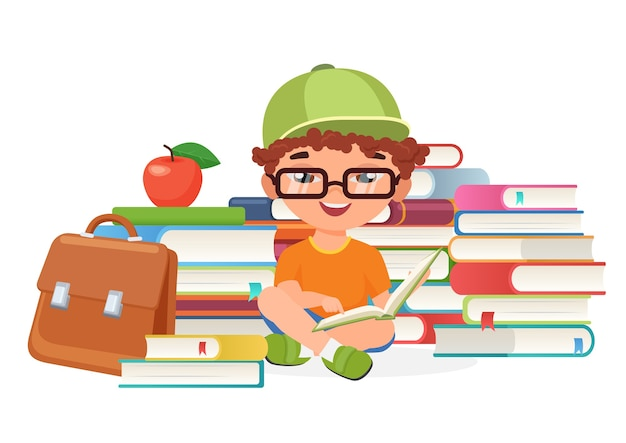Boy pupil reading books alone  illustration