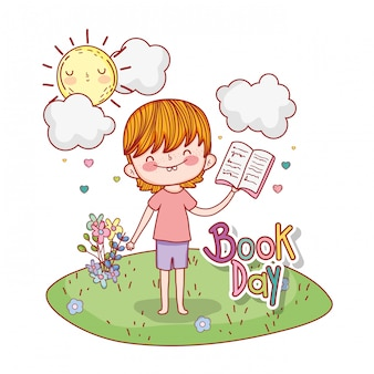 Boy read book with sun and clouds