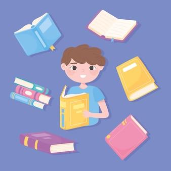 少年は彼の好きな本、教育と学校、研究と文学を読んだ