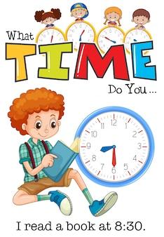 A boy reading book at 8:30