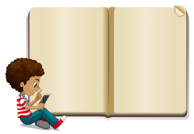 Boy reading book and blank book template